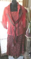 VINTAGE Style ~ PERSON-ELLE ~Coral/Coffee Crinkle 3 Piece DRESS/SET * Size 10 *