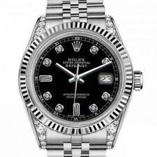 Rolex Oyster Perpetual Datejust Black Dial with Diamond Numbers & Lugs 36mm Watc
