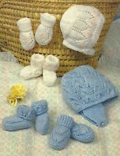 BABY HATS MITTS & BOOTEES KNITTING PATTERN 0 TO 12 MONTHS DOUBLE KNIT (1175)