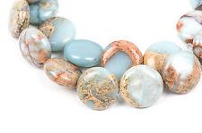 AQUA TERRA JASPER 14mm Round Flat Coin Gemstone Beads, full strand gja0016