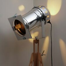 Retro Industrial Floor Lamp, Long Silver Theatre Stage Spotlight & Wooden Tripod