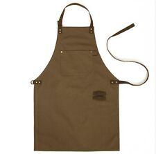 miss oh/canvas suede leather apron (Khaki) Handmade High-quality medium