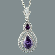 Pear Cut 18K White Gold Plated Cubic Zirconia Purple Amethyst Pendant Free Chain