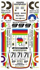 #71 Apple Computer Porsche 1980 1/64th HO Scale Slot Car Decals