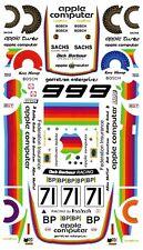 #71 Apple Computer Porsche 1980 1/64th HO Scale Slot Car Decals
