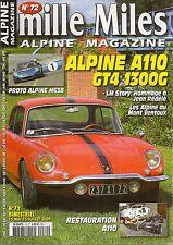 MILLE MILES 72 ALPINE A110 COUPE GT4 1300 ALPINE M63B MONT VENTOUX 1959 1976