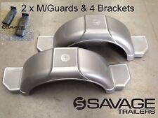 "BOAT TRAILER MUDGUARD KIT - 13"" MUDGUARDS & 4 BRACKETS - SILVER GREY - AUST MADE"
