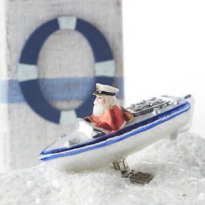 New Eric Cortina Glass Clip-On Santa In Speedboat Ornament 3953041
