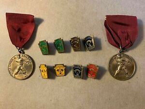 Vintage 1950's Little League Baseball Medals and Pins