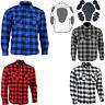 Motorcycle Cotton Flannel Lumberjack shirt lined DuPont™ KEVLAR® CE armour Blue
