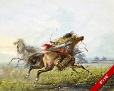 CROW TRIBE NATIVE AMERICAN INDIAN WARRIOR & HORSE PAINTING ART REAL CANVAS PRINT