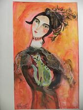 Cuban CUBA CHAMART Artist Charo Hand SIGNED Painting LADY CAT OVAL FACE ORANG 27