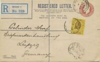 GB 1909 Edward superb postal stationery registered env uprated 3d coated paper