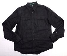 WOMENS dark brown linen SHIRT = RALPH LAUREN = SIZE XS xsmall = gp32