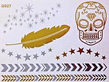 Flash Einmal Temporary Klebe Tattoo Gold Silber 7teile Armband Hals Kette G27