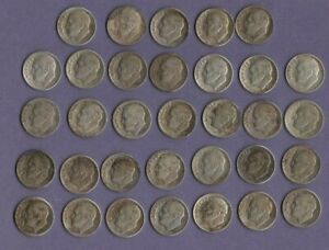 Silver Roosevelt Dimes 33 Coin Lot