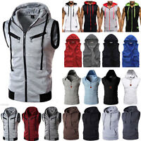 Mens Gym Hoodies Shirt Muscle Sleeveless Tank Top Bodybuilding Fitness Vest US