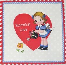 "Retro Valentine Fabric Heart O' Mine Puppy Blooming Love Greeting 7"" Quilt Block"