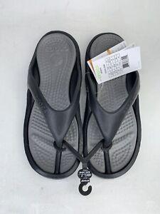 Crocs Athens Flip Flops Sandals Mens Size 9 W 11 Black Gray Comfort Thong 🔥