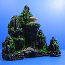 Mountain View Aquarium Ornament Rock Cave Stone Tree Bridge Tank Decoration New