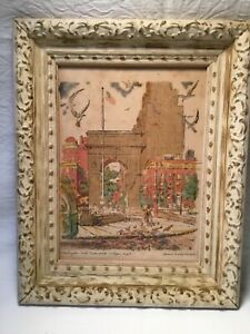 Vintage Framed Serigraph Washington Arch Greenwich Village NYC James S. Hulme