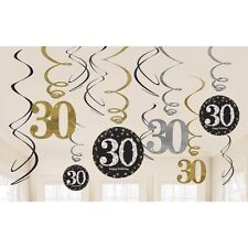 12 X 30TH BIRTHDAY PARTY HANGING SWIRLS BLACK GOLD CELEBRATION DECORATION AGE 30