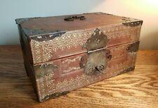 Impresionante caja de documentos cubierto de cuero + Accesorios de Latón & extensa Dorado Tooling