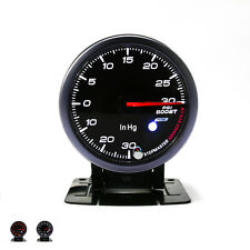 "2.5"" 60mm Black Smoke Face PSI Boost Gauge With Peak Car Turbo in PSI Meter 12V"