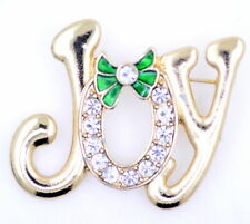 "Large golden ""Joy"" brooch. Festive wreath for the ""O"". Christmas badge"