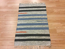 Striped Cream Multi Color Handloomed Cotton Rag RUG Durrie Mat 60x90cm 2x3 50%OF