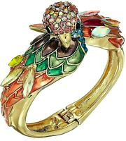 Betsey Johnson Paradise Lost Parrot Pavé Hinged Bracelet Cuff Multicolored