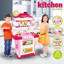 Kids Children Pretend Role Play Toys Chef Kitchen Cook Utensils Food Cooking Set