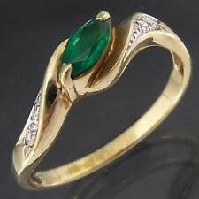 Dressy Everyday Narrow Bright EMERALD 4 DIAMOND 9k Solid Yellow GOLD RING Sz O