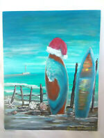 "Original Acrylic Painting 8""x10"" Canvas Panel, Surf Boards Christmas  Art Decor"