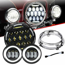 7'' Black LED Headlight+Passing Lights For Harley Dyna Switchback FLD