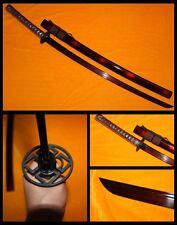 "41""Japanese Samurai Sword Katana Black&Red Folded Steel Clay Tempered Sharp #796"