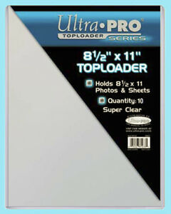 """10 Ultra Pro 8.5""""x11"""" TOPLOADERS NEW Rigid Sleeves Photos Documents 8-1/2 x 11"""