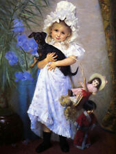 Art oil painting Francine Charderon - The Favorite little girl & doll dog canvas
