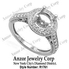 Platinum 950 Pave .60cwt G-VS2 Diamond Engagement Ring Setting #R1761