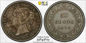 1872-H Newfoundland 50 Cents PCGS XF40 Lot#G272 Silver!