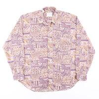 Vintage ETON COMPANY  Pink 90s Long Sleeve Crazy Print Shirt Mens L