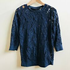 TOPSHOP Navy Blue Lace Jumper Sweater Top Semi-Sheer Floral Pattern Size 10
