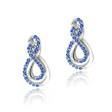 925 Silver Lab Created Blue Sapphire Intertwined Infinity Earrings