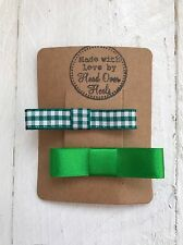 Green Satin & Green Gingham Bow Hair Clips Back to School