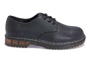 Women's work School Chunky Flat DM Style Shoe Black Size 3 4 5 6 7 8