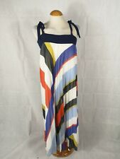 Ladies Dress Size 14 M&S Pleated Yellow Blue Party Summer Holiday