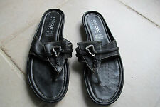 Geox Respira Black leather sandals./silver hardware. Size 10M.Good condition