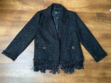 Size 10 black River Island glittery fringed blazer