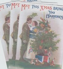 12 REPRODUCTION WW1 BRITISH CHRISTMAS POST CARDS SET 3 (3 DIFFERENT DESIGNS)