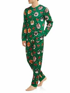 Cats Christmas Pajamas Mens Large L One Piece Zip Ugly unionsuit Light Up Jumper